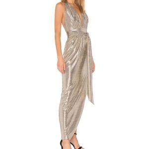 Rachel Zoe Women's Revolve Metallic Halter Gown 6
